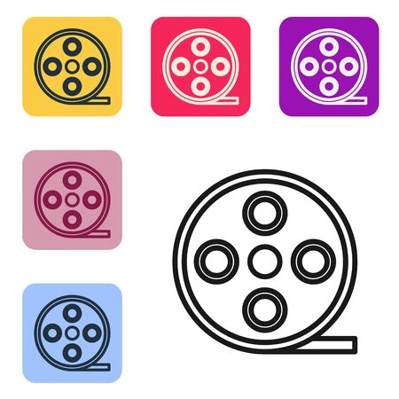 Black line Film reel icon isolated on white background. Set icons in color square buttons. Vector Illustration Banque d'images - 143558954