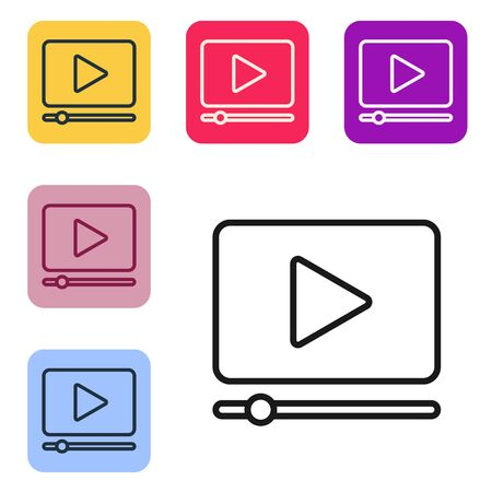 Black line Online play video icon isolated on white background. Film strip with play sign. Set icons in color square buttons. Vector Illustration