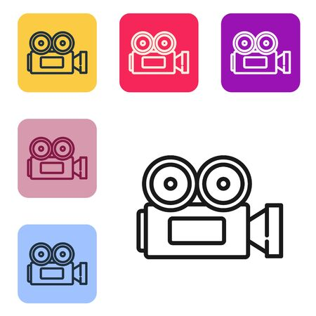 Black line Cinema camera icon isolated on white background. Video camera. Movie sign. Film projector. Set icons in color square buttons. Vector Illustration Banque d'images - 143558985