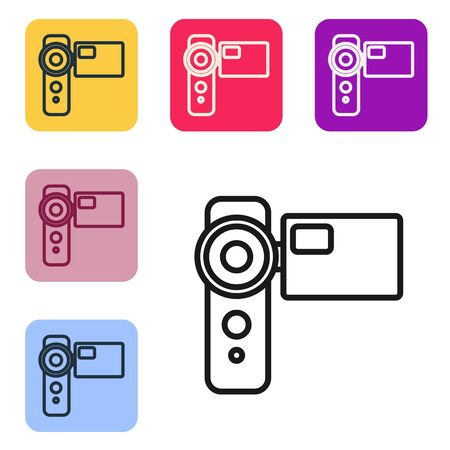 Black line Cinema camera icon isolated on white background. Video camera. Movie sign. Film projector. Set icons in color square buttons. Vector Illustration Banque d'images - 143558995