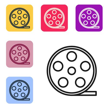 Black line Film reel icon isolated on white background. Set icons in color square buttons. Vector Illustration Banque d'images - 143559033