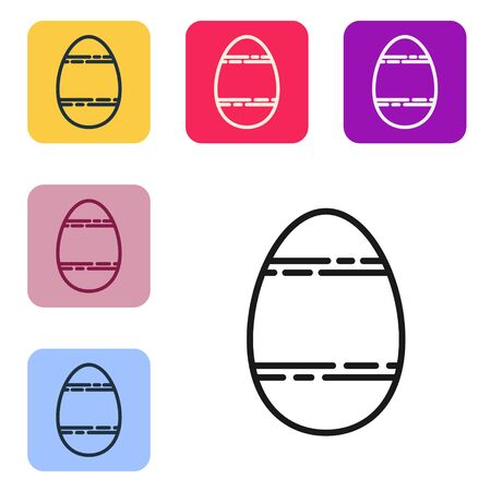 Black line Easter egg icon isolated on white background. Happy Easter. Set icons in color square buttons. Vector Illustration 向量圖像