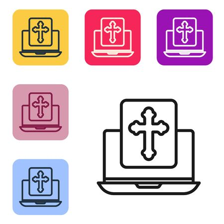 Black line Cross on the laptop screen icon isolated on white background. Set icons in color square buttons. Vector Illustration