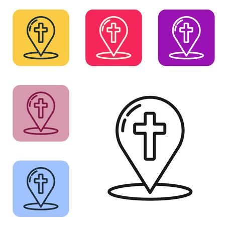 Black line Map pointer with christian cross icon isolated on white background. Set icons in color square buttons. Vector Illustration