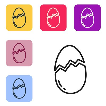 Black line Broken egg icon isolated on white background. Happy Easter. Set icons in color square buttons. Vector Illustration 向量圖像
