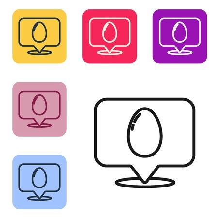 Black line Speech bubble with easter egg icon isolated on white background. Happy Easter. Set icons in color square buttons. Vector Illustration 向量圖像