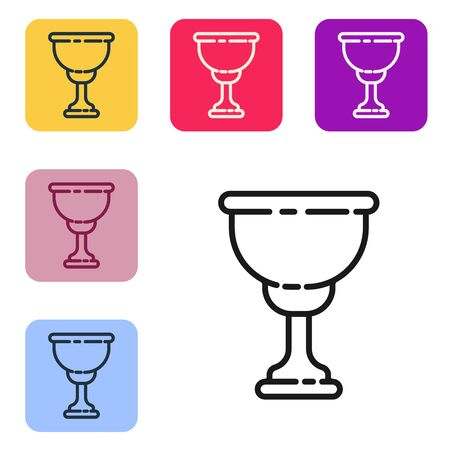 Black line Christian chalice icon isolated on white background. Christianity icon. Happy Easter. Set icons in color square buttons. Vector Illustration