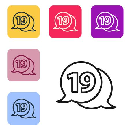 Black line Speech bubble with happy easter icon isolated on white background. Set icons in color square buttons. Vector Illustration