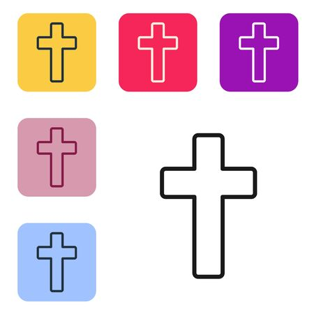 Black line Christian cross icon isolated on white background. Church cross. Set icons in color square buttons. Vector Illustration 向量圖像