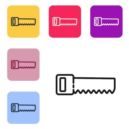 Black line Hand saw icon isolated on white background. Set icons in color square buttons. Vector Illustration