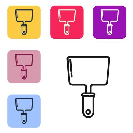 Black line Putty knife icon isolated on white background. Spatula repair tool. Spackling or paint instruments. Set icons in color square buttons. Vector Illustration