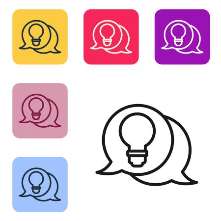 Black line Speech bubble and light bulb with concept of idea icon isolated on white background. Energy and idea symbol. Set icons in color square buttons. Vector Illustration 일러스트