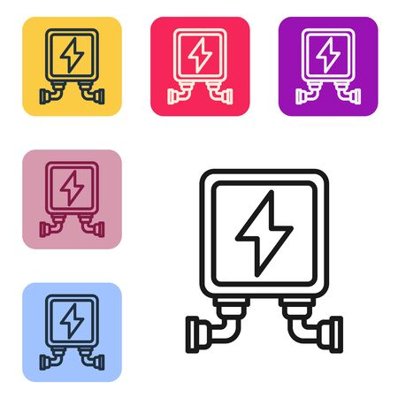 Black line Electric transformer icon isolated on white background. Set icons in color square buttons. Vector Illustration 向量圖像