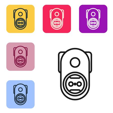 Black line Electrical outlet icon isolated on white background. Power socket. Rosette symbol. Set icons in color square buttons. Vector Illustration