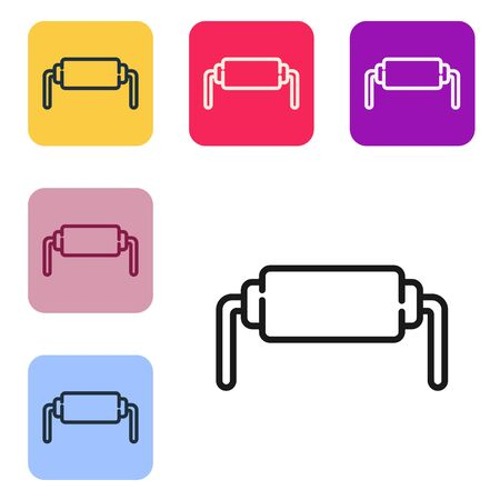 Black line Resistor electricity icon isolated on white background. Set icons in color square buttons. Vector Illustration 向量圖像