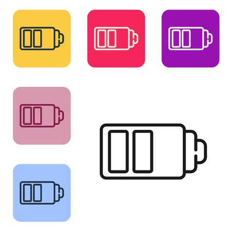 Black line Battery charge level indicator icon isolated on white background. Set icons in color square buttons. Vector Illustration