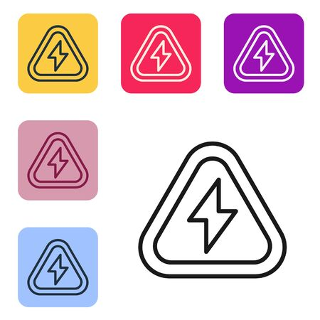 Black line High voltage icon isolated on white background. Danger symbol. Arrow in triangle. Warning icon. Set icons in color square buttons. Vector Illustration 向量圖像