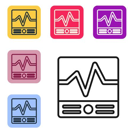 Black line Electrical measuring instruments icon isolated on white background. Analog devices. Electrical appliances. Set icons in color square buttons. Vector Illustration 向量圖像
