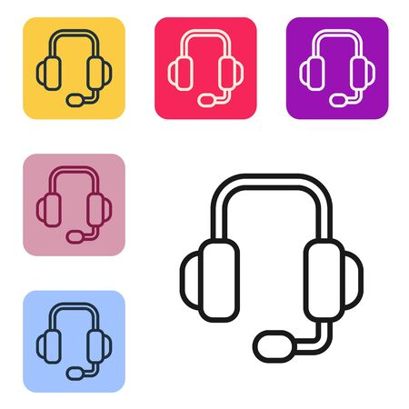 Black line Headphones icon isolated on white background. Support customer service, hotline, call center, faq, maintenance. Set icons in color square buttons. Vector Illustration