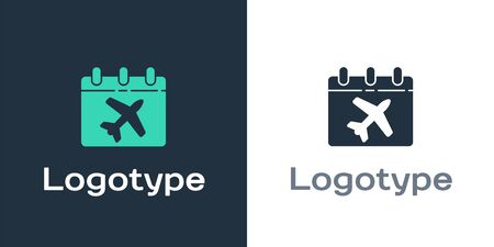 Logotype Travel planning calendar and airplane icon isolated on white background. A planned holiday trip. Logo design template element. Vector Illustration Illusztráció