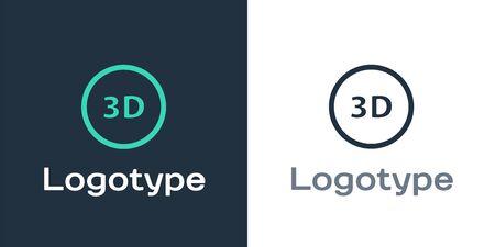 Logotype 3D word icon isolated on white background. Logo design template element. Vector Illustration Logo