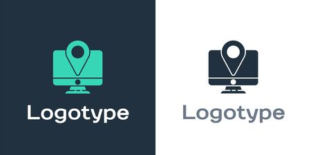 Logotype Computer monitor and folded map with location marker icon isolated on white background. Logo design template element. Vector Illustration