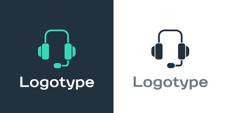 Logotype Headphones icon isolated on white background. Support customer service, hotline, call center, faq, maintenance. Logo design template element. Vector Illustration