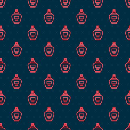 Red line Perfume icon isolated seamless pattern on black background. Vector Illustration