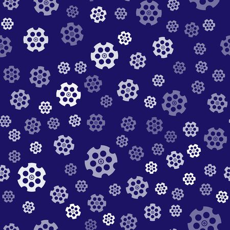 White Revolver cylinder icon isolated seamless pattern on blue background. Vector Illustration