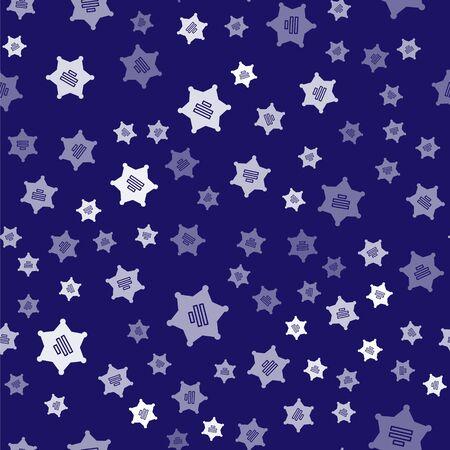 White Hexagram sheriff icon isolated seamless pattern on blue background. Police badge icon. Vector Illustration