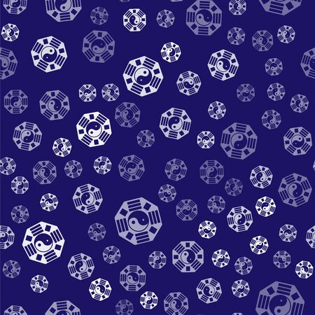 White Yin Yang symbol of harmony and balance icon isolated seamless pattern on blue background.  Vector Illustration