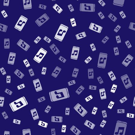White Music player icon isolated seamless pattern on blue background. Portable music device. Vector Illustration Stock Illustratie