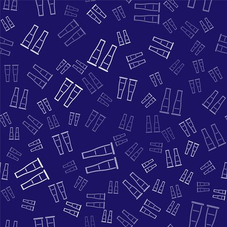 White Crutch or crutches icon isolated seamless pattern on blue background. Equipment for rehabilitation of people with diseases of musculoskeletal system. Vector Illustration