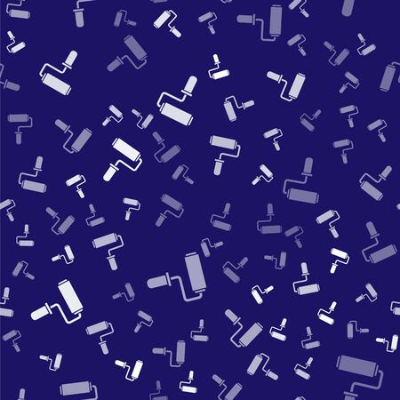 White Paint roller brush icon isolated seamless pattern on blue background. Vector Illustration