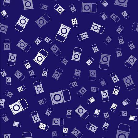White Paint bucket icon isolated seamless pattern on blue background. Vector Illustration Ilustração
