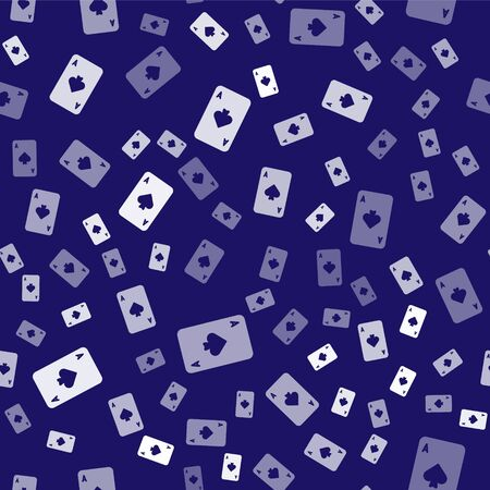 White Playing card with spades symbol icon isolated seamless pattern on blue background. Casino gambling. Vector Illustration