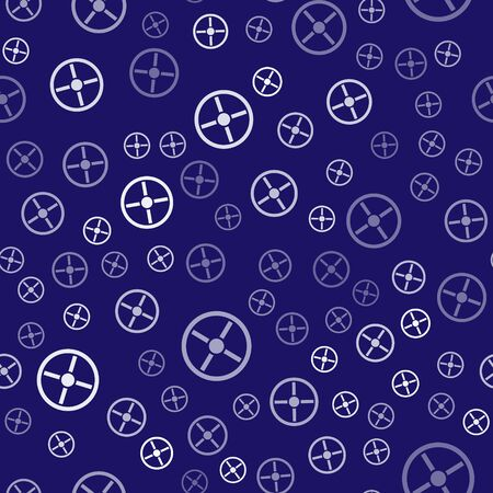 White Industry valve icon isolated seamless pattern on blue background. Vector Illustration