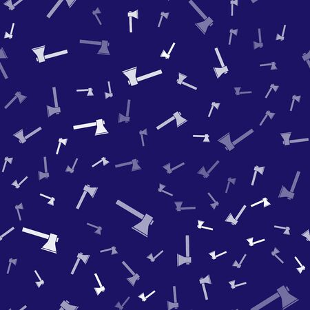 White Firefighter axe icon isolated seamless pattern on blue background. Fire axe. Vector Illustration