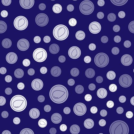 White Water drop icon isolated seamless pattern on blue background. Vector Illustration