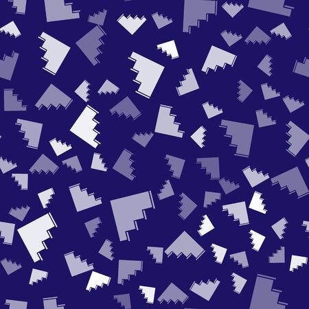 White Staircase icon isolated seamless pattern on blue background. Vector Illustration