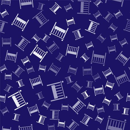 White Baby crib cradle bed icon isolated seamless pattern on blue background. Vector Illustration