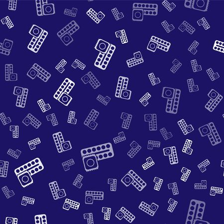 White Packaging of birth control pills and condom in package safe sex icon isolated seamless pattern on blue background. Contraceptive pill. Vector Illustration Vectores