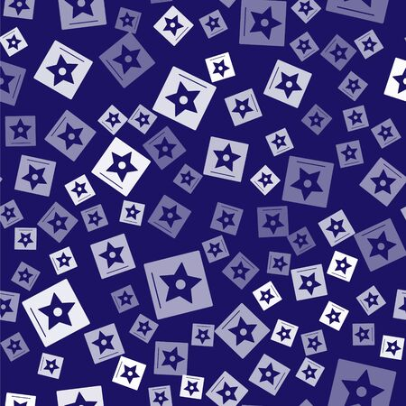 White star seamless pattern on blue background.