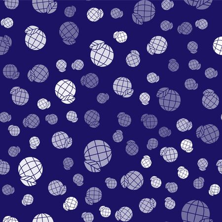 White Earth globe and leaf icon isolated seamless pattern on blue background. World or Earth sign. Geometric shapes. Environmental concept. Vector Illustration