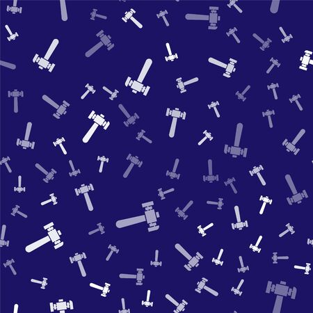 White Hammer icon isolated seamless pattern on blue background. Tool for repair. Vector Illustration
