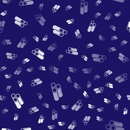White Industry metallic pipe icon isolated seamless pattern on blue background. Plumbing pipeline parts of different shapes. Vector Illustration Banque d'images - 144073024
