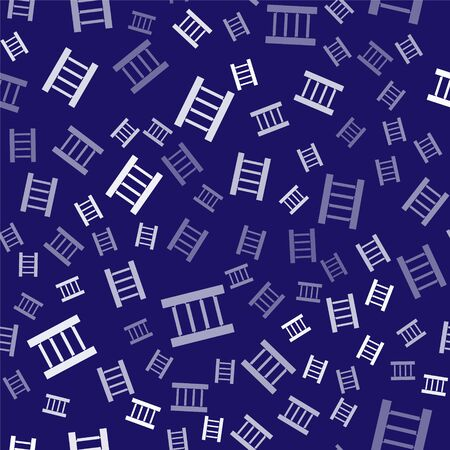 White Wooden staircase icon isolated seamless pattern on blue background. Vector Illustration