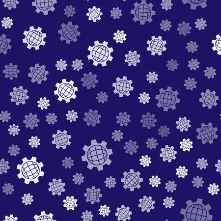 White Globe of the Earth and gear or cog icon isolated seamless pattern on blue background. Setting parameters. Global Options. Vector Illustration
