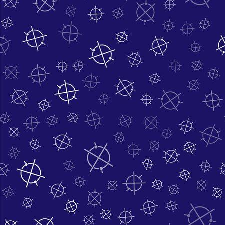 White Electric circuit scheme icon isolated seamless pattern on blue background. Circuit board. Vector Illustration Vektoros illusztráció