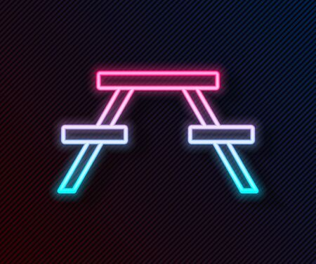 Glowing neon line Picnic table with benches on either side of the table icon isolated on black background. Vector Illustration